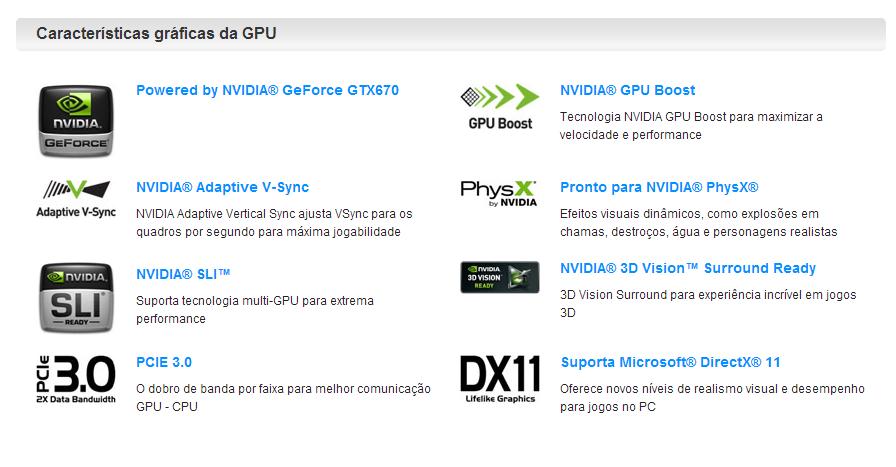 ASUS GTX 670 Nvidia specs