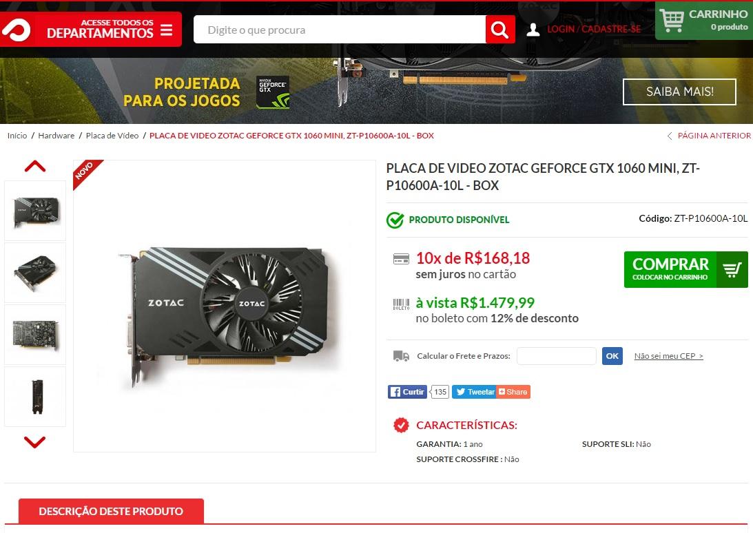 GTX 1060 custom brasil venda preco
